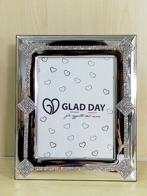 Porta Foto Glad Day Medio Decoro Argento e Strass